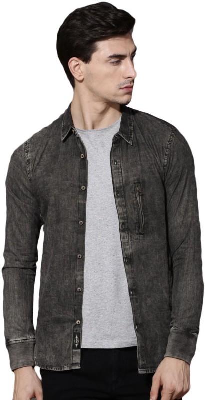 Roadster Men Self Design Casual Black Shirt