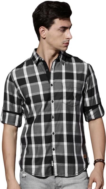 Roadster Men Checkered Casual Black Shirt