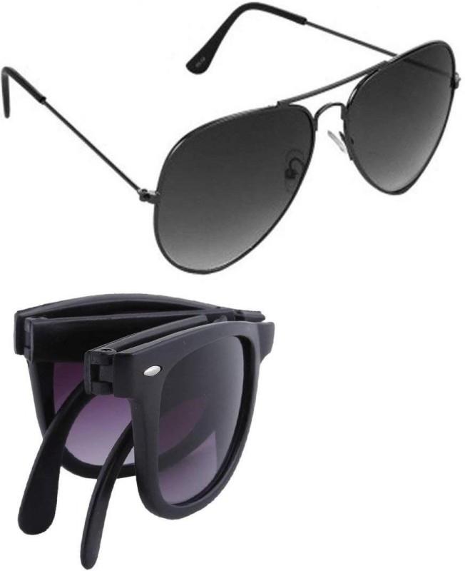 Fashno Wayfarer, Aviator Sunglasses(Black) image