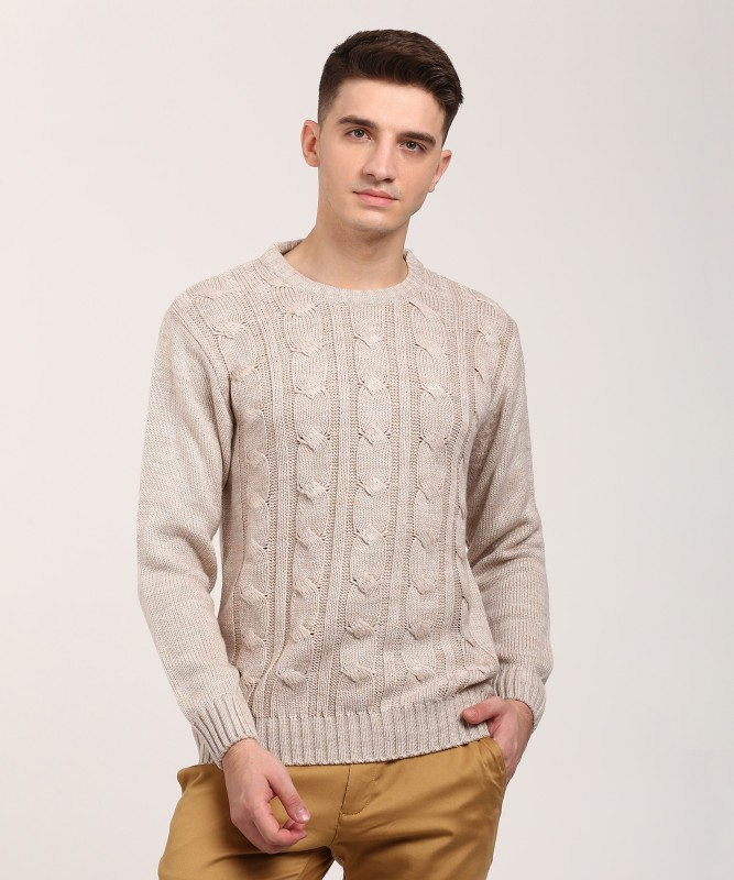 Duke Self Design Round Neck Casual Mens Beige Sweater