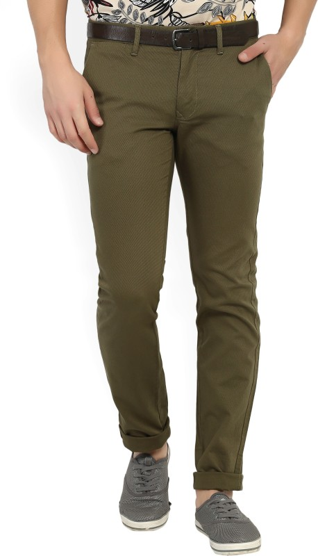 Indian Terrain Slim Fit Mens Brown Trousers