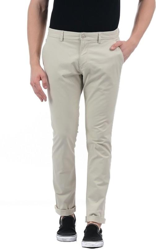 Indian Terrain Slim Fit Men's Beige Trousers