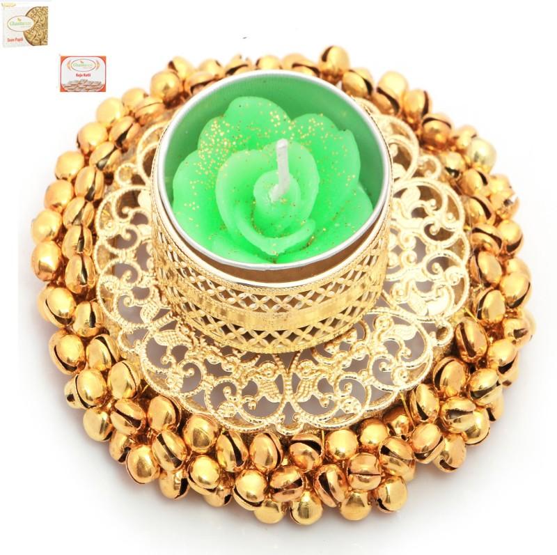 Ghasitaram Gifts Diwali Candles-Golden Gungroo T-Lite with 200 gms Kaju Katli and 200 gms Soan Papdi Combo(3)