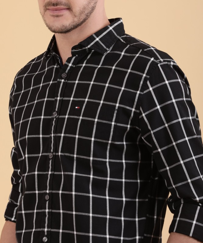 Tommy Hilfiger Mens Checkered Casual Black Shirt