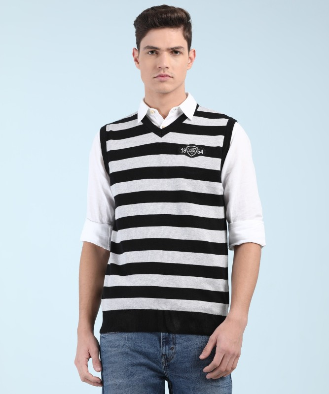 Fort Collins Striped V-neck Casual Mens Black, White Sweater