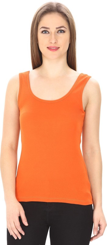 Trudam Casual No Sleeve Solid Women Orange Top