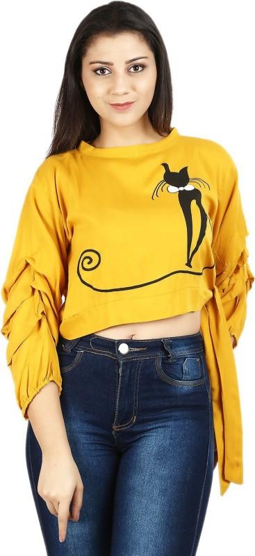clothvilla Casual Layered Sleeve Graphic Print Women Yellow Top
