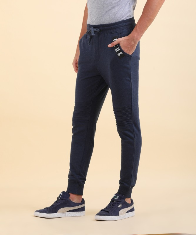 French Connection Solid Mens Blue Track Pants