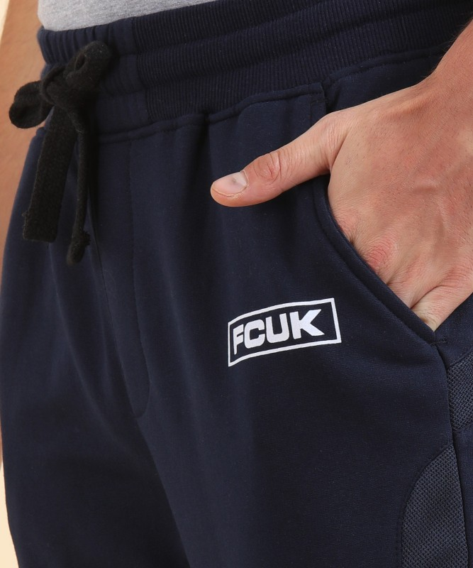 French Connection Solid Mens Dark Blue Track Pants