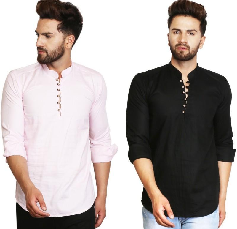 A-Okay Men Solid Straight Kurta(Pink, Black)