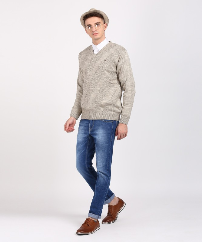 Duke Self Design V-neck Casual Men Grey Sweater