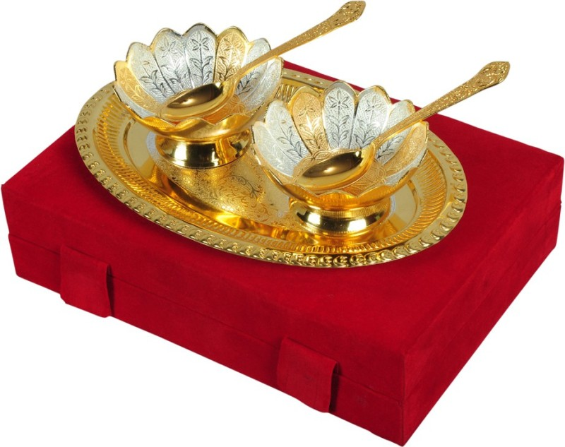 Odna Bichona Silver And Gold Plated Bowl Spoon Tray Serving Set(Pack of 5)
