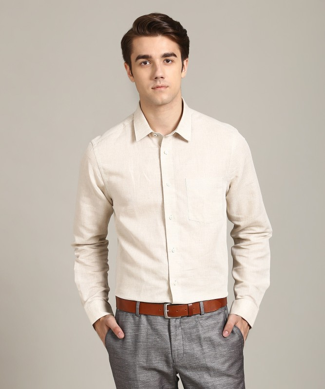 Blackberrys Men Self Design Formal Beige Shirt