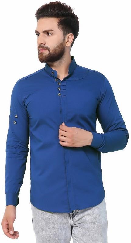 U TURN Men Solid Casual Blue Shirt