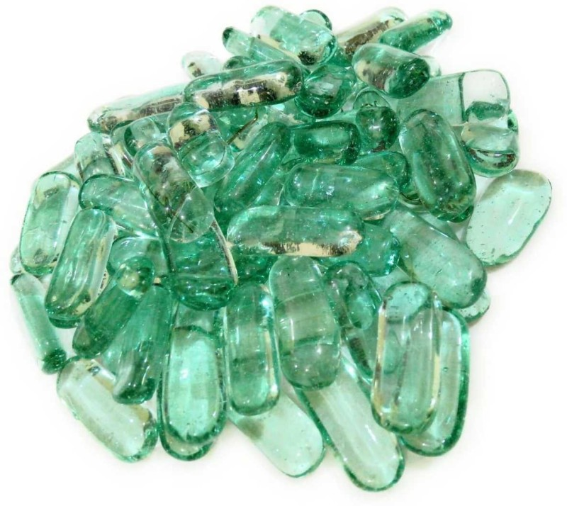 stone pebbles Sivananda Gems and Crafts Regular Square Fire Glass Pebbles(Green 500 g)