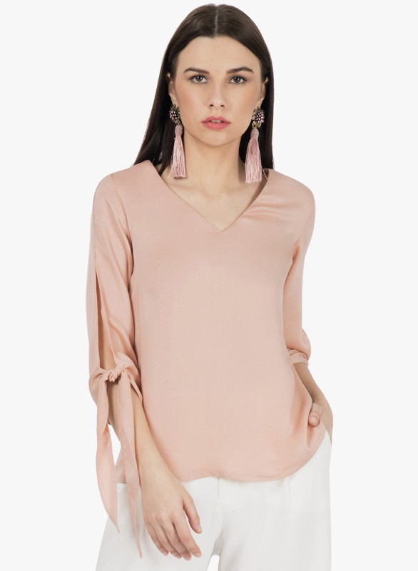 a8f352bbef9 FabAlley Formal 3 4th Sleeve Solid Women s Pink Top