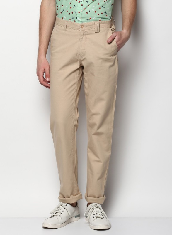 Monte Carlo Regular Fit Men Cream Trousers
