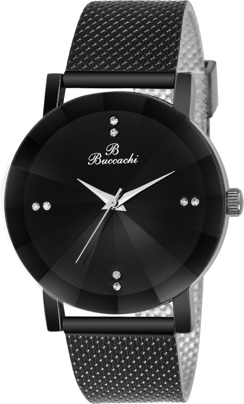 Buccachi B-G5045-BK-BK Black Dial Special Diamond Cute Glass Wrist Watch Water Resistant Black Color Strap Watch for Mens/Boys Analog Watch - For Women