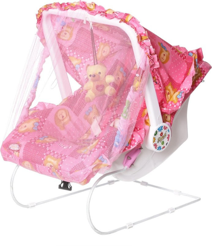 Archana NHR Multipurpose (9 in 1) Pink carry cot with mosquito net and Sun shade Non-electric(Pink)