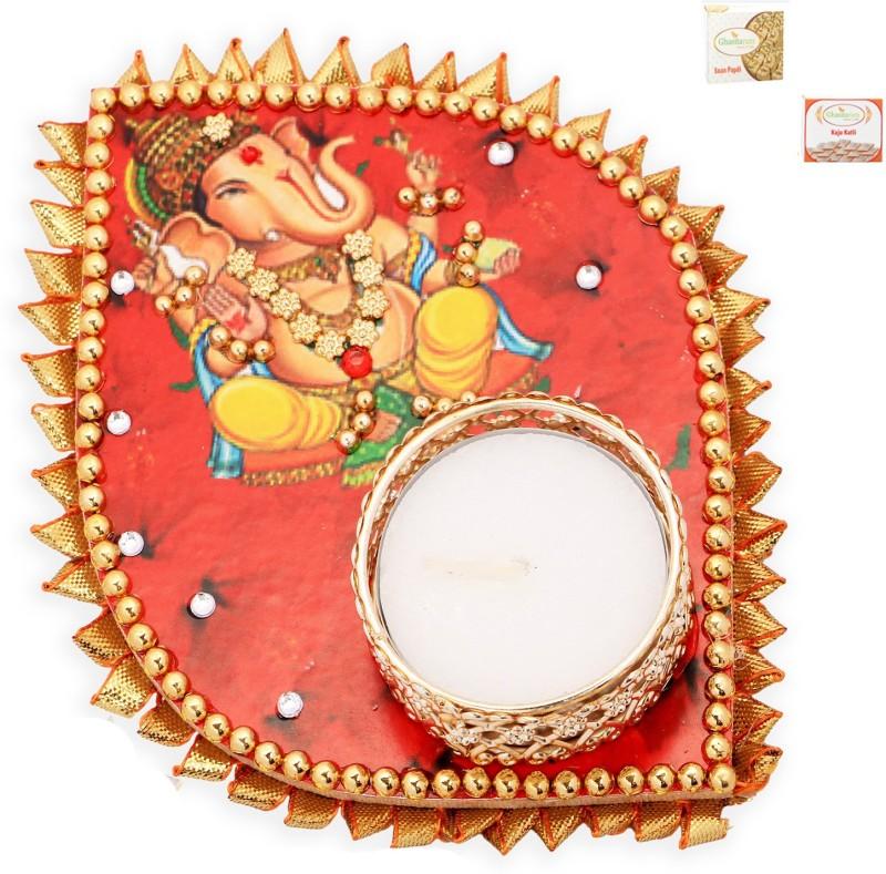 Ghasitaram Gifts Diwali Candles-Ganesha Leaf T-Lite with 200 gms kaju Katli and 200 gms Soan Papdi Combo(3)