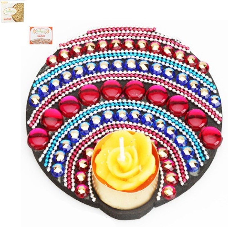 Ghasitaram Gifts Diwali Floating Multicolor T-Lite with 200 gms kaju Katli and 200 gms Soan Papdi Combo(3)