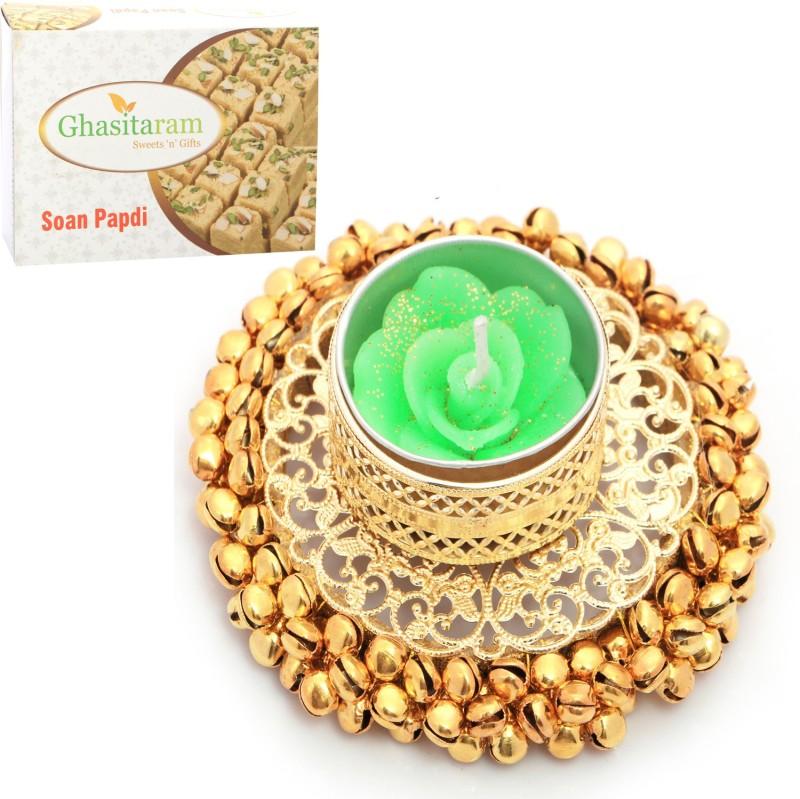 Ghasitaram Gifts Diwali Candles-Golden Gungroo T-Lite with 200 gms Soan Papdi Combo(2)