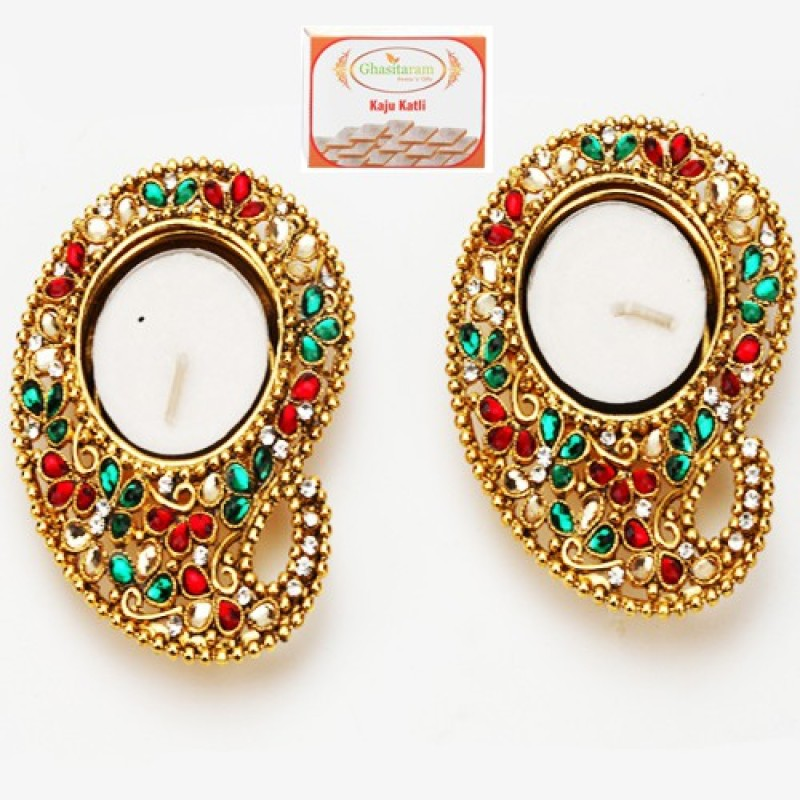 Ghasitaram Gifts Diwali Set of 2 Mango Multicolor Metal T-Lite with 200 gms kaju Katli Combo(3)
