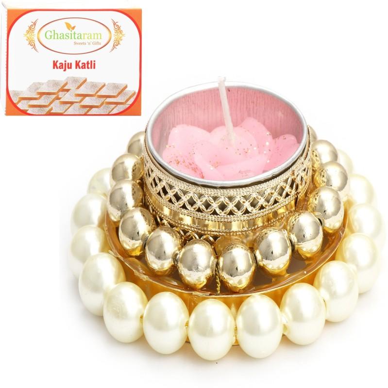 Ghasitaram Gifts Diwali Candles- White Pearl T-Lite with 400 gms Kaju Katli Combo(2)