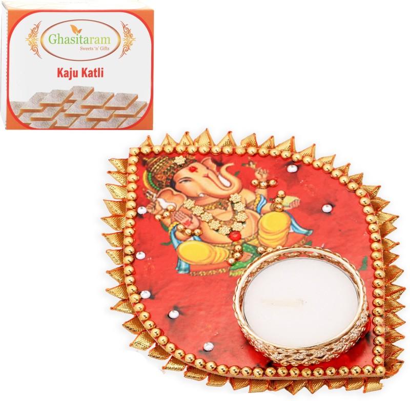 Ghasitaram Gifts Diwali Candles-Ganesha Leaf T-Lite with 200 gms kaju Katli Combo(2)