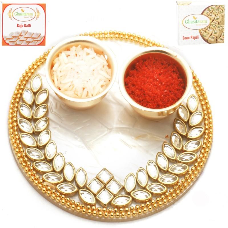 Ghasitaram Gifts BhaiDooj -The Perfect Bond Pooja Thali with 200 gms of Kaju katli and 200 gms of Soan Papdi Combo(2)