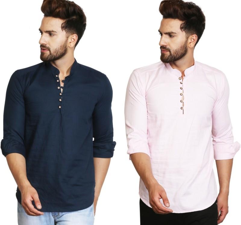A-Okay Mens Solid Straight Kurta(Blue, Pink)