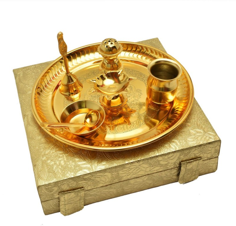 Odna Bichona Small Pooja Thali For Festival Brass(7 Pieces, Gold)