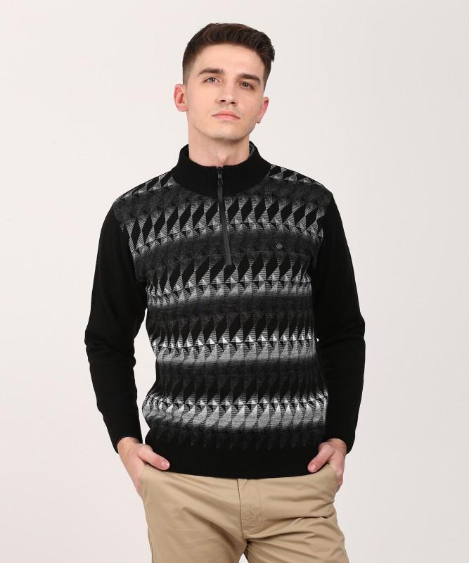 Duke Self Design NA Casual Men Black Sweater