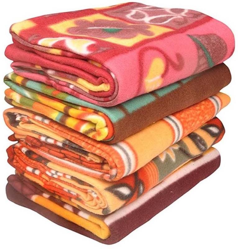 sugandha Floral Single Fleece Blanket(Polyester, Multicolor)