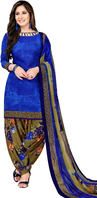 Fashion Valley Crepe Printed Salwar Suit Material(Semi Stitched)