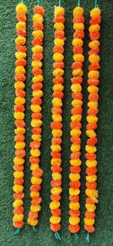 Satyam Kraft Genda Phool Flower Line For Decoration Home Decor Wedding Decor Flower Decoration Line Orange Yellow 5 Orange Yellow Marigold Artificial Flower 58 Inch Pack Of 5 Buy Online In United Arab Emirates At Desertcart