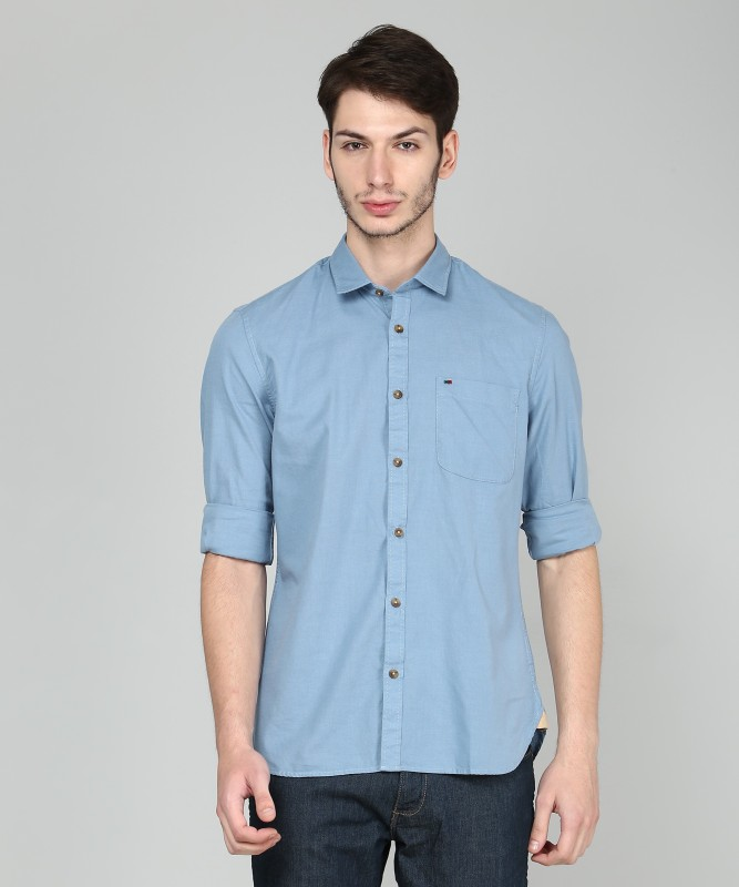 Peter England Men Solid Casual Blue Shirt