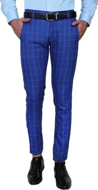 One Click Slim Fit Men's Blue Trousers
