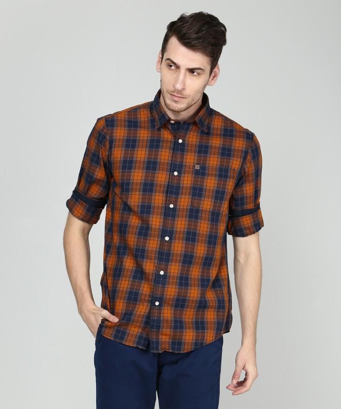 ARROW BLUE JEANS CO. Men Checkered Casual Brown Shirt