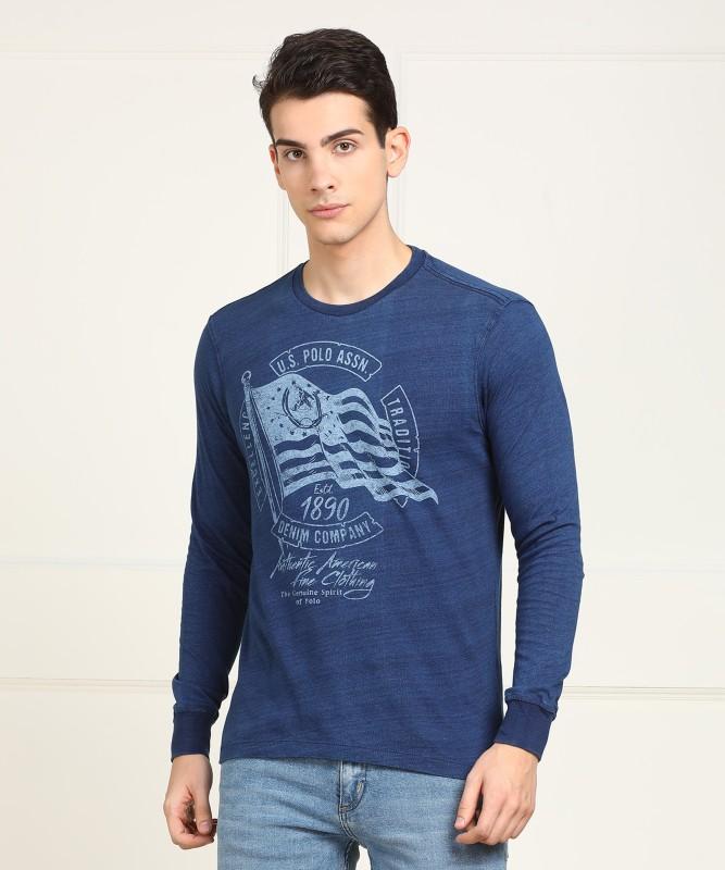 U.S. Polo Assn Printed Men Round Neck Blue T-Shirt