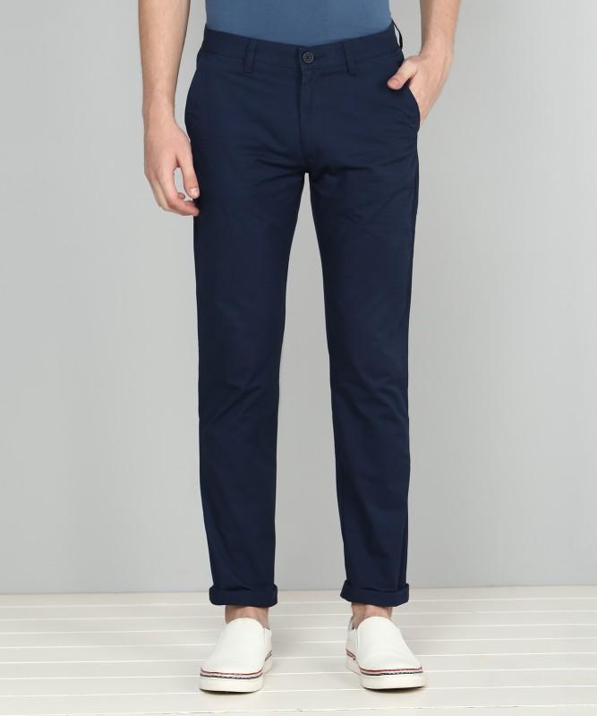 Peter England Slim Fit Men Blue Trousers