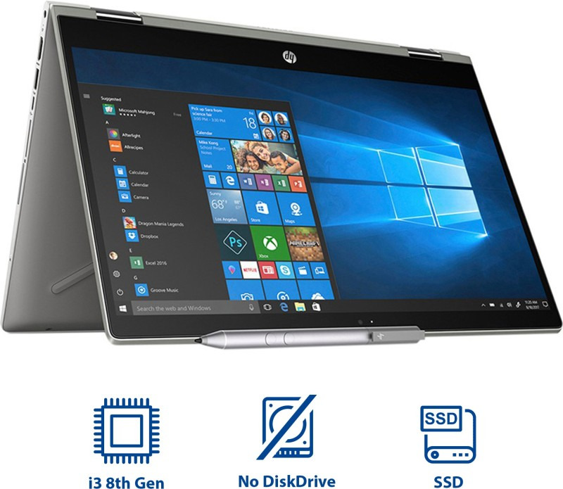 HP Pavilion x360 Core i3 8th Gen - (4 GB/1 TB HDD/8 GB SSD/Windows 10 Home/2 GB Graphics) 14-cd0050TX 2 in 1 Laptop(14 inch, Mineral Silver, 1.68 kg, With MS Office)
