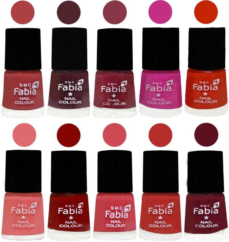 FABIA Matte Nail Polish Combo/Multicolor Nail Polish/Mix Color/Combo Color Set of 10pcs(6ml each) 110201901 Peach-Wine-Wine Red-Pink Pink-Fire Orange-Baby Pink-Bold Red-Strawberry-Candy Orange-Maroon(Pack of 10)