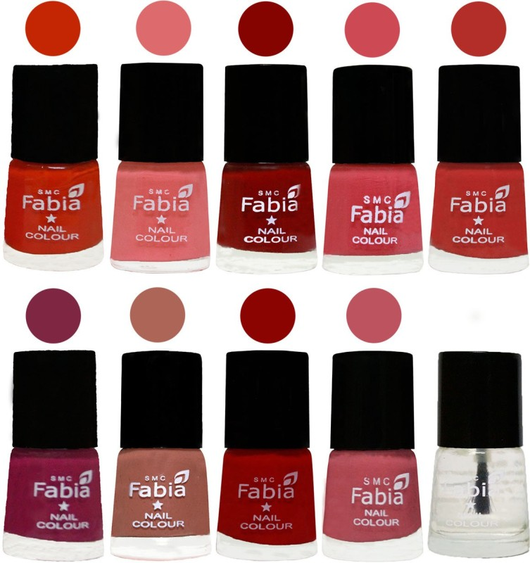FABIA Matte Nail Polish Combo/Multicolor Nail Polish/Mix Color/Combo Color Set of 10pcs(6ml each) 110201987 Fire Orange-Baby Pink-Bold Red-Strawberry-Candy Orange-Dark Magenta-Coral-Red-Coral Pink -Top Coat(Pack of 10)