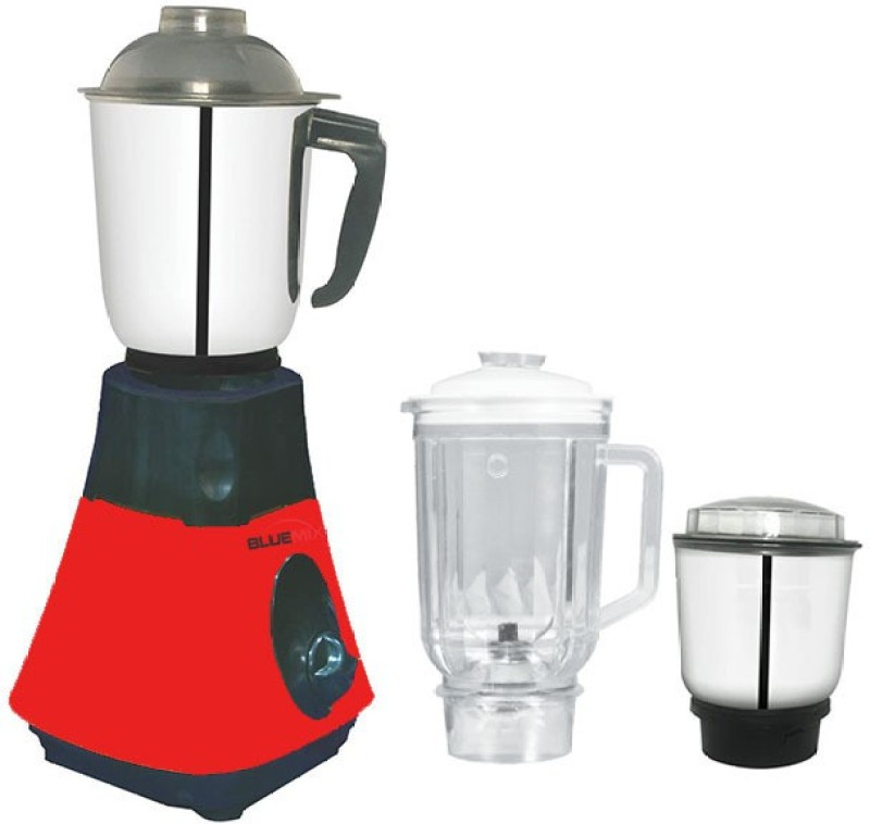 Bluemix BM2 BM-2T 650 Mixer Grinder(Red and Black, 3 Jars)