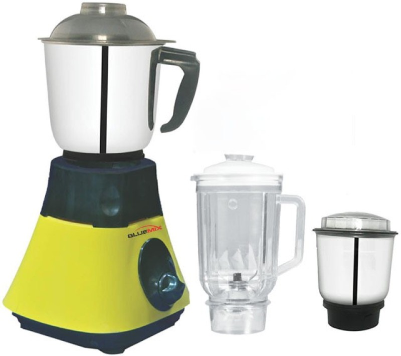 Bluemix BM2 BM-2T 650 Mixer Grinder(Yellow and Black, 3 Jars)