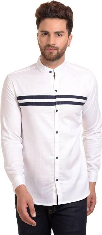 ROSSO FEM Men Self Design Casual White, Black Shirt