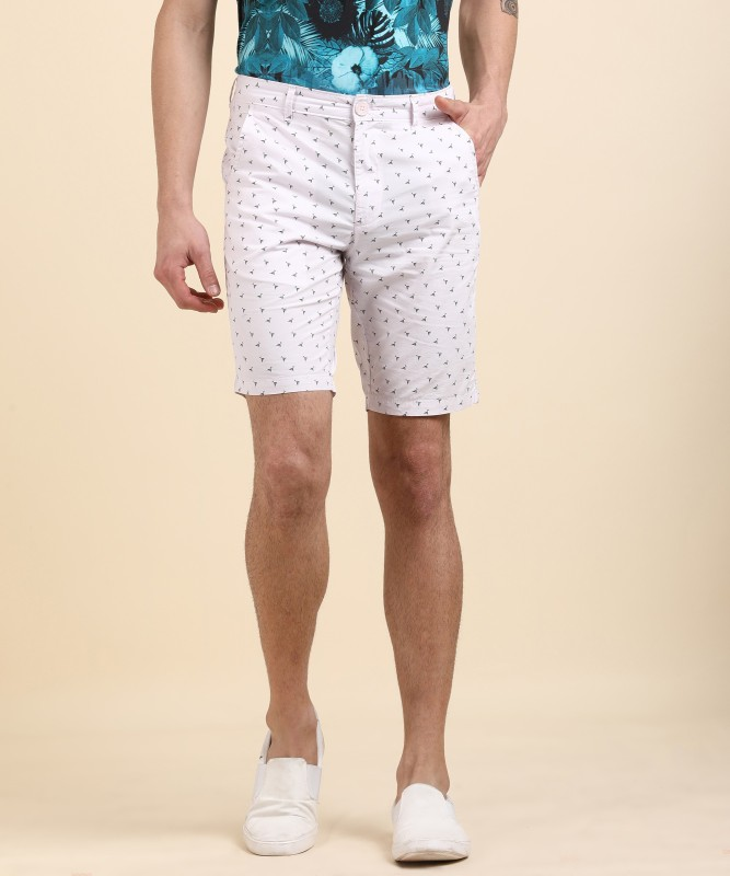 Indigo Nation Printed Men's White Denim Shorts