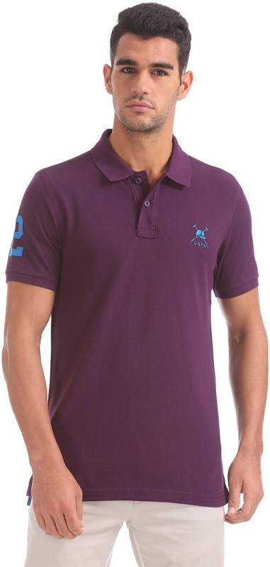 U.S. Polo Assn Solid Men Polo Neck Purple T-Shirt