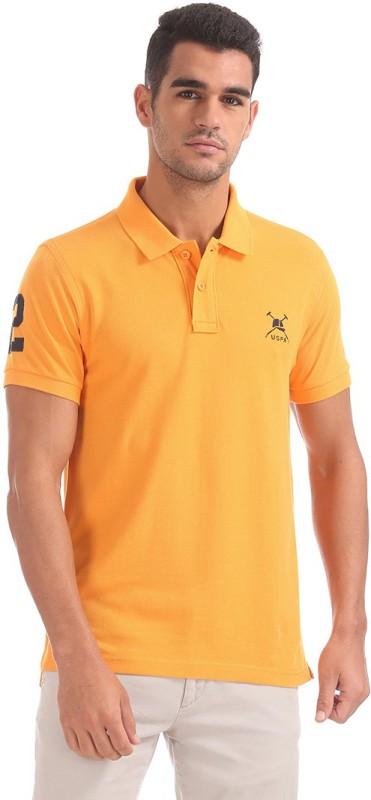 U.S. Polo Assn Solid Men Polo Neck Orange T-Shirt